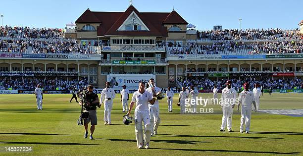 England batsman Andrew Strauss leaves the field at the end of play on the second day of the second Test match between England and West Indies at...