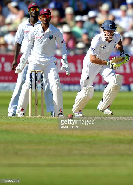 England batsman Andrew Strauss watches the ball on the second day of the second Test match between England and West Indies at Trent Bridge in...