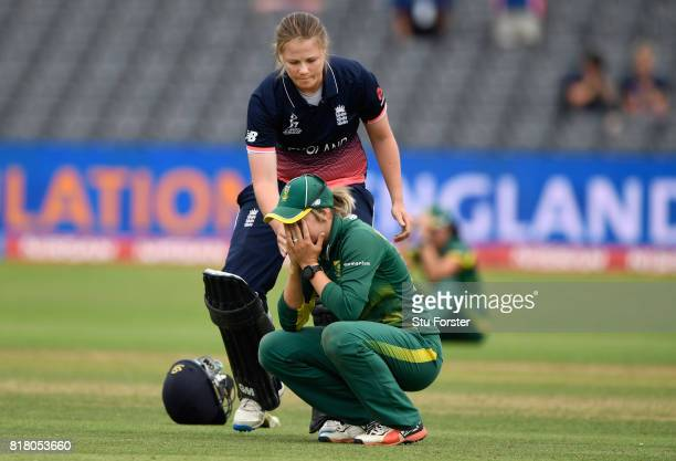England batsman Anya Shrubsole goes over to console South Africa captain Dane van Niekerk during the ICC Women's World Cup 2017 SemiFinal between...