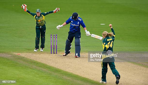 England batsman Anya Shrubsole is bowed by Kristen Beams as Australia keeper Alyssa Healy celebrates the final wicket during the 3rd Royal London ODI...