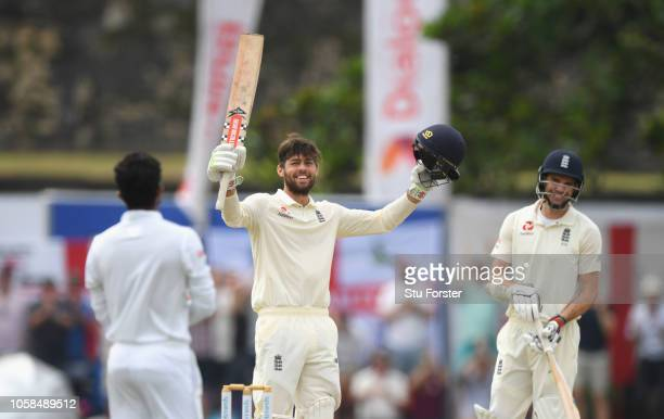England batsman Ben Foakes celebrates reaching his century during Day Two of the First Test match between Sri Lanka and England at Galle...