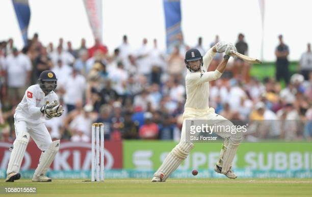 England batsman Ben Foakes drives to the boundary during Day One of the First Test match between Sri Lanka and England at Galle International Stadium...