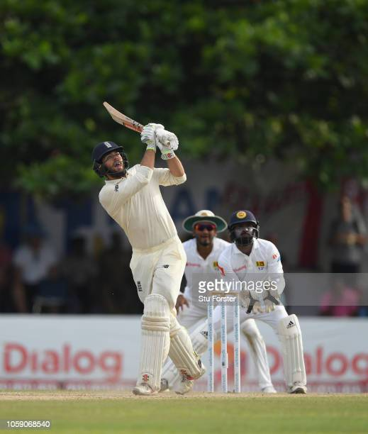 England batsman Ben Foakes hits his 3rd six during Day Three of the First Test match between Sri Lanka and England at Galle International Stadium on...