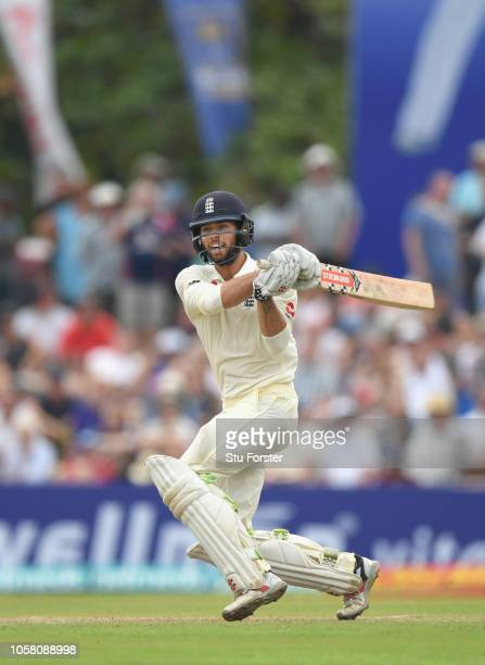 England batsman Ben Foakes hits out during Day One of the First Test match between Sri Lanka and England at Galle International Stadium on November 6...