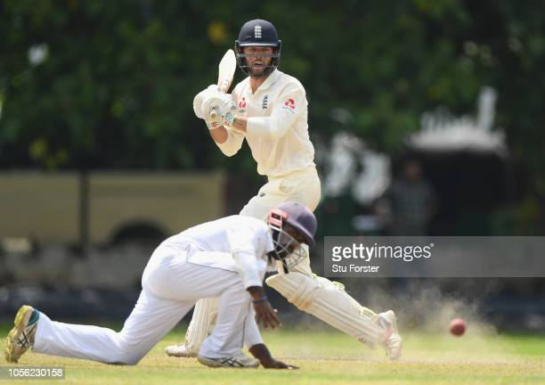 England batsman Ben Foakes hits out during the Tour match between Sri Lanka Board President's XI and England at Columbo Cricket Club Ground on...