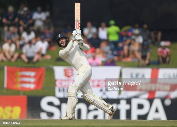 England batsman Ben Foakes hits six runs during Day Four of the Second Test match between Sri Lanka and England at Pallekele Cricket Stadium on...