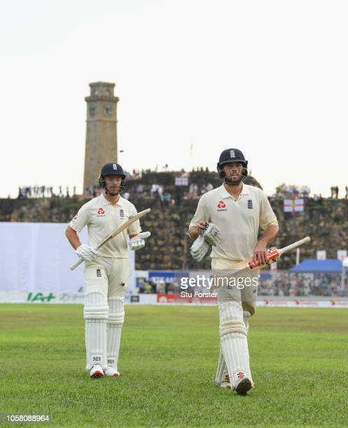 England batsman Ben Foakes leaves the field unbeaten on 87 runs on his debut with Jack Leach after Day One of the First Test match between Sri Lanka...