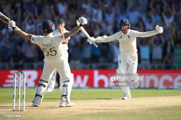 England batsman Ben Stokes and Jack Leach celebrate at the end after hitting the winning runs after day four of the 3rd Ashes Test Match between...
