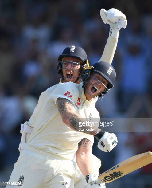 England batsman Ben Stokes and Jack Leach celebrate victory in the test match by 1 wicket after Stokes had hit the winning runs during day four of...