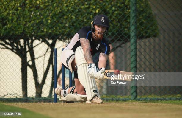 England batsman Ben Stokes bats during England nets ahead of the 2nd Test Match at Pallekelle Stadium on November 13 2018 in Kandy Sri Lanka