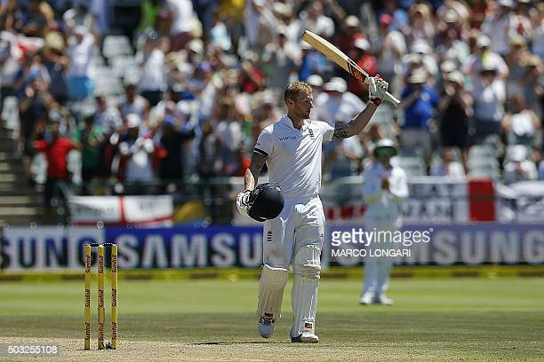 England batsman Ben Stokes celebrates a 250 runs during day two of the second Test match between South Africa and England at the Newlands Stadium in...