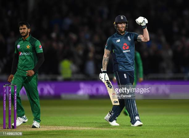 England batsman Ben Stokes celebrates after hitting the winning runs during the 4TH One Day International between England and Pakistan at Trent...