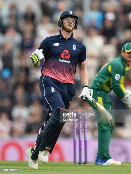 England batsman Ben Stokes celebrates reaching his century during the 2nd Royal London One Day International between England and South Africa at The...