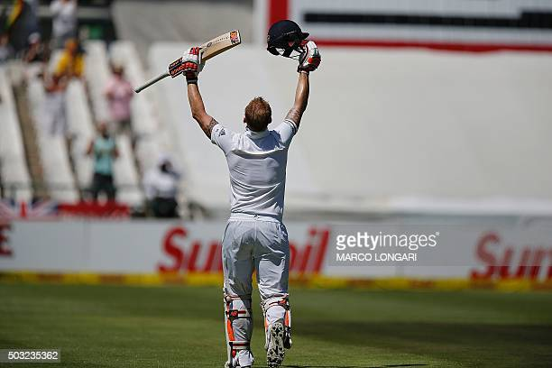 England batsman Ben Stokes celebrates scoring a century during day two of the second Test match between South Africa and England at the Newlands...