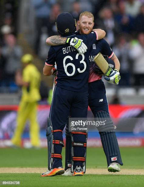 England batsman Ben Stokes celebrates with Jos Buttler after reaching his century during the ICC Champions Trophy match between England and Australia...