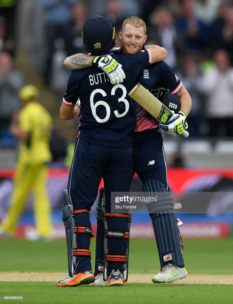 England batsman Ben Stokes celebrates with Jos Buttler after reaching his century during the ICC Champions Trophy match between England and Australia at Edgbaston on June 10, 2017 in Birmingham, England.