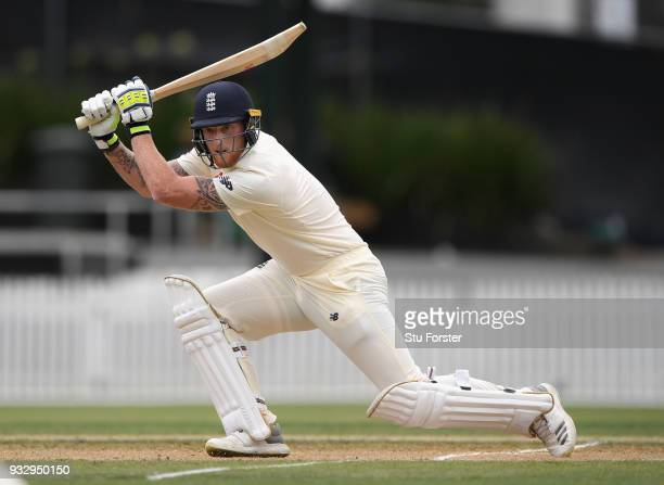 England batsman Ben Stokes drives a ball to the boundary during day two of the Test warm up match between England and New Zealand Cricket XI at...
