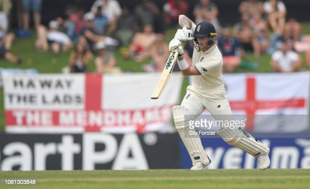 England batsman Ben Stokes drives to the boundary during Day One of the Second Test match between Sri Lanka and England at Pallekele Cricket Stadium...
