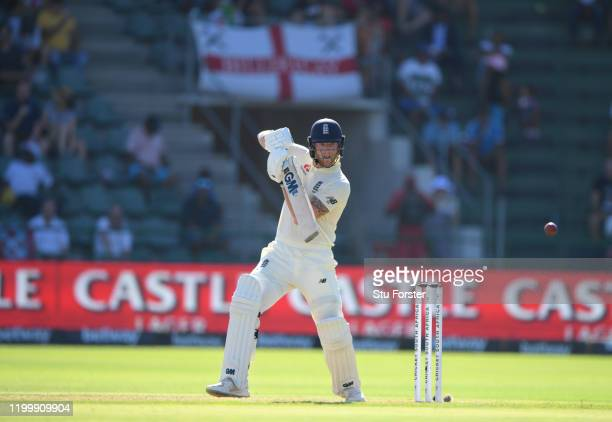 England batsman Ben Stokes hits out during Day One of the Third Test between England and South Africa at St George's Park on January 16, 2020 in Port...