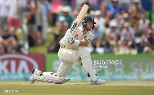 England batsman Ben Stokes hits out during Day three of the First Test match between Sri Lanka and England at Galle International Stadium on November...