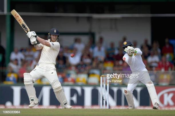 England batsman Ben Stokes hits out during Day Three of the Third Test match between Sri Lanka and England at Sinhalese Sports Club on November 25...