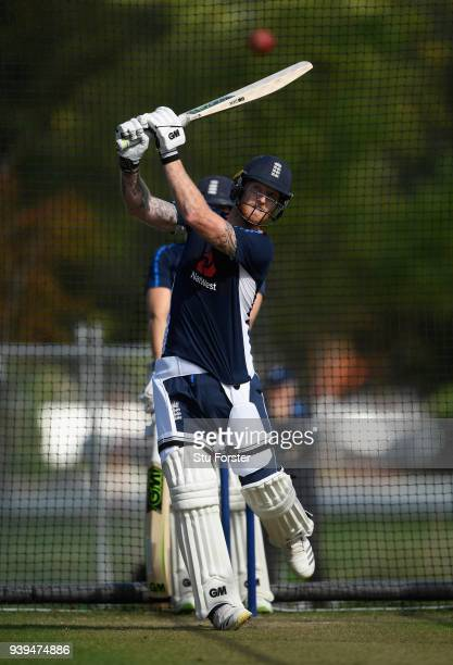 England batsman Ben Stokes in action during England nets ahead of the second test match against the New Zealand Black Caps at Hagley Oval on March 29...