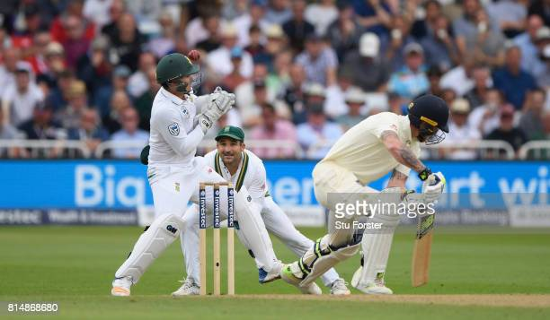 England batsman Ben Stokes is caught by wicketkeeper Quinton de Kock during day two of the 2nd Investec Test match between England and South Africa...