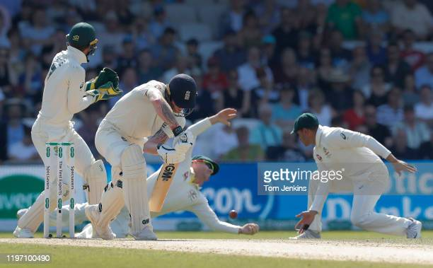 England batsman Ben Stokes is dropped by David Warner during day four of the England v Australia 3rd Ashes test match at Headingley on August 25th...