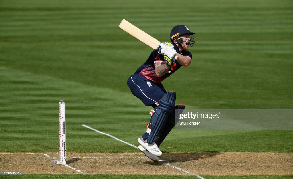 England batsman Ben Stokes is hit by a short ball during the 3rd ODI between New Zealand and England at Westpac stadium on March 3, 2018 in Wellington, New Zealand.
