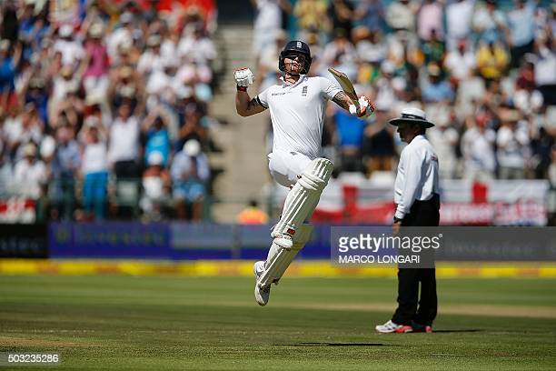 England batsman Ben Stokes jumps in the air to celebrate scoring a century during day two of the second Test match between South Africa and England...