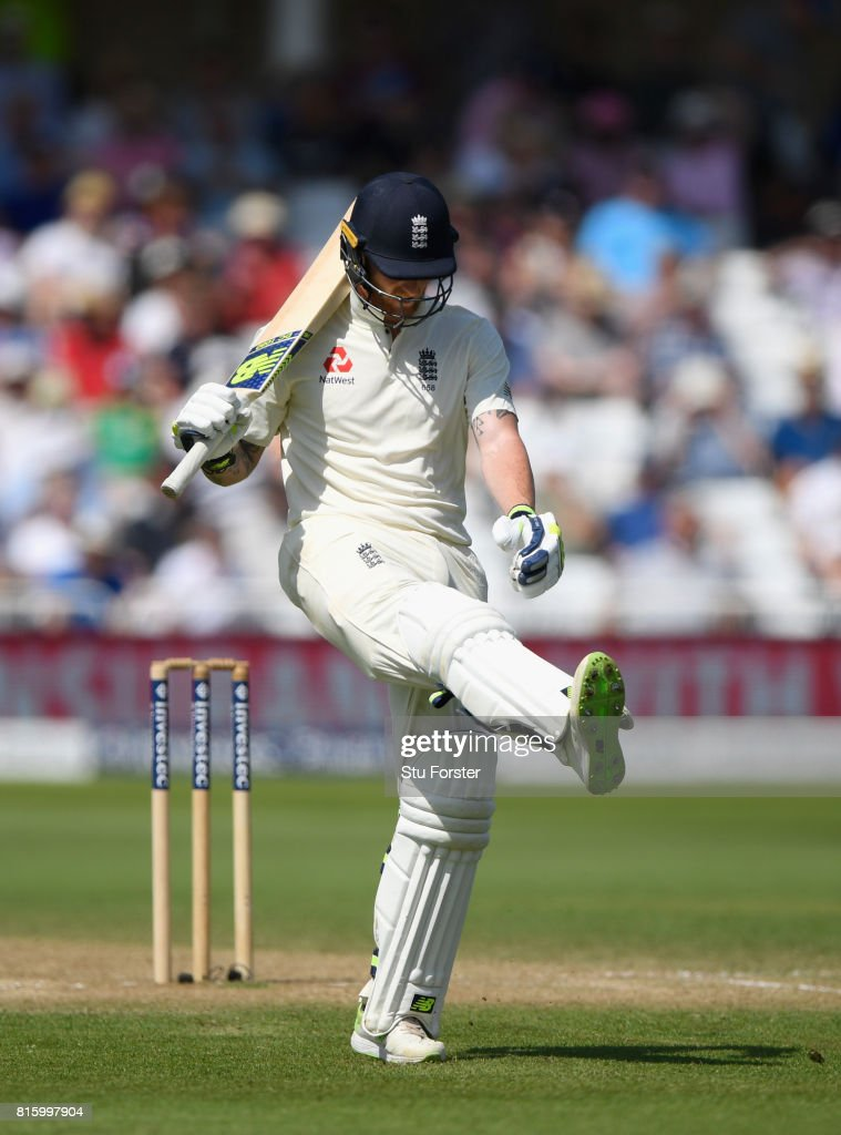 England batsman Ben Stokes kicks out after being dismissed for 18 runs during day four of the 2nd Investec Test match between England and South Africa at Trent Bridge on July 17, 2017 in Nottingham, England.