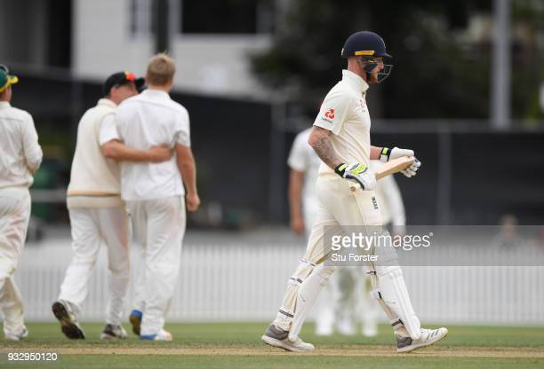England batsman Ben Stokes leaves the field after being dismissed during day two of the Test warm up match between England and New Zealand Cricket XI...