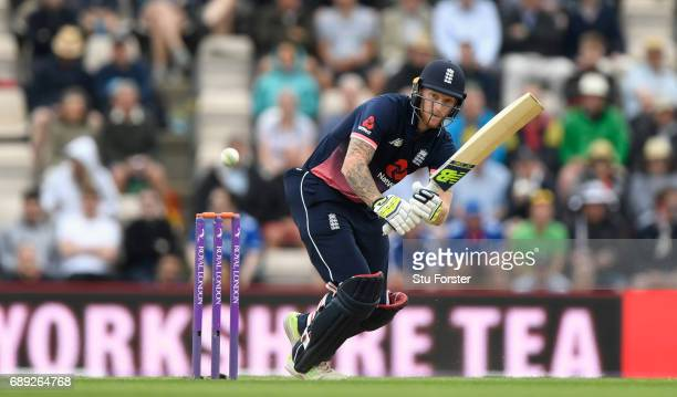 England batsman Ben Stokes picks up some runs during the 2nd Royal London One Day International between England and South Africa at The Ageas Bowl on...