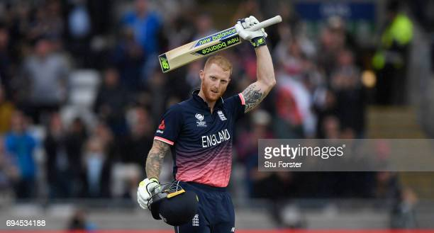England batsman Ben Stokes reaches his century during the ICC Champions Trophy match between England and Australia at Edgbaston on June 10 2017 in...