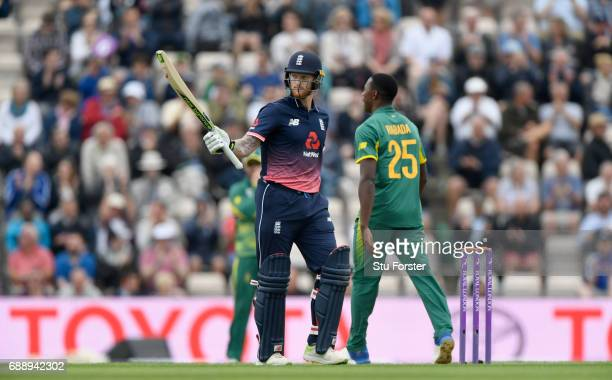England batsman Ben Stokes reaches his half century during the 2nd Royal London One Day International between England and South Africa at The Ageas...