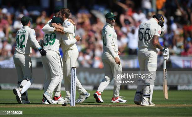 England batsman Ben Stokes reacts after being caught out during Day One of the Second Test between England and South Africa on January 03, 2020 in...