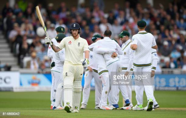 England batsman Ben Stokes reacts after being dismissed during day two of the 2nd Investec Test match between England and South Africa at Trent...