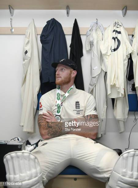 England batsman Ben Stokes takes a moment in the dressing room after day four of the 3rd Ashes Test Match between England and Australia at Headingley...