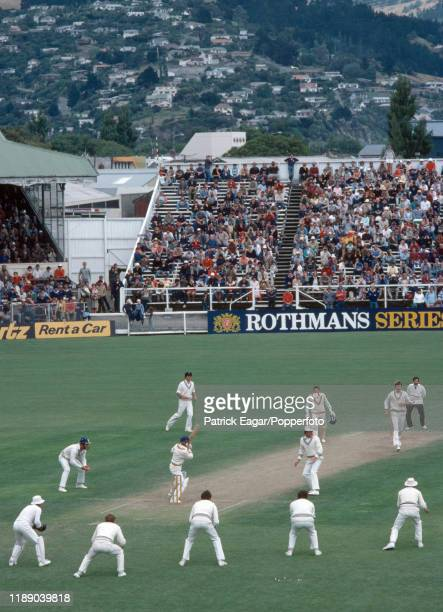 England batsman Bob Taylor plays a delivery from New Zealand bowler Ewen Chatfield as New Zealand press for victory in the 2nd Test match between New...