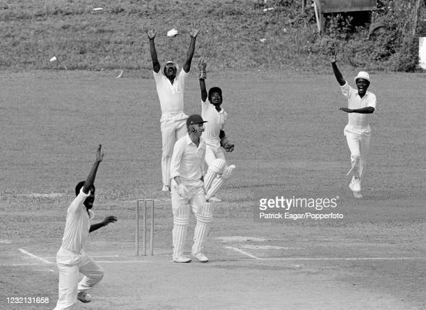 England batsman Brian Rose is caught behind for 5 runs by West Indies wicketkeeper David Murray off the bowling of Michael Holding during the 1st...