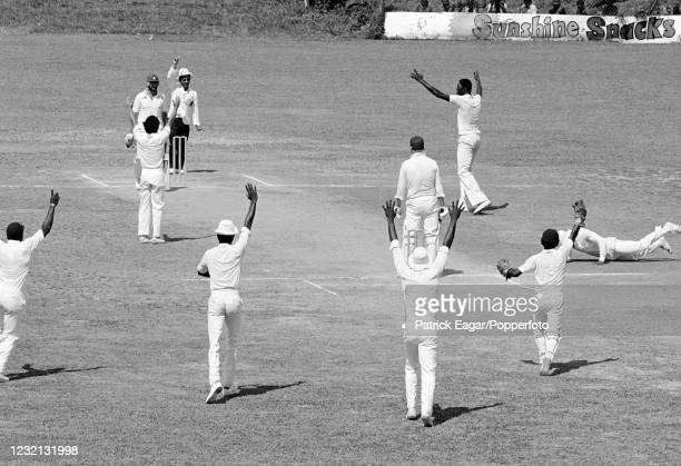 England batsman Brian Rose is caught for 10 runs by Desmond Haynes of West Indies off the bowling of Joel Garner during the 1st Test match between...