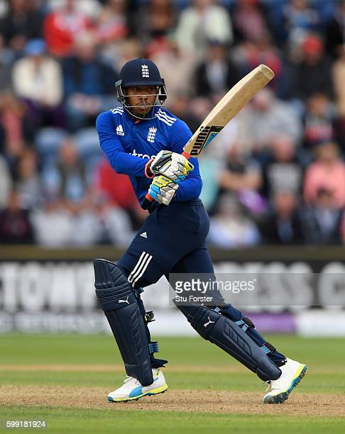 England batsman Chris Jordan hits out during the 5th One Day International between England and Pakistan at Swalec Stadium on September 4 2016 in...