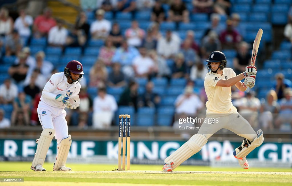 England batsman Chris Woakes cuts a ball towards the boundary watched by keeper Shane Dowrich during day four of the 2nd Investec Test Match between England and West Indies at Headingley on August 28, 2017 in Leeds, England.