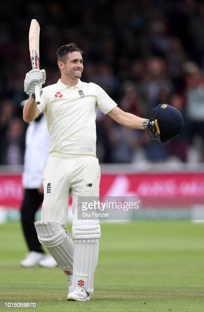 England batsman Chris Woakes reaches his century during Day 3 of the 2nd Test Match between England and India at Lord's Cricket Ground on August 11...