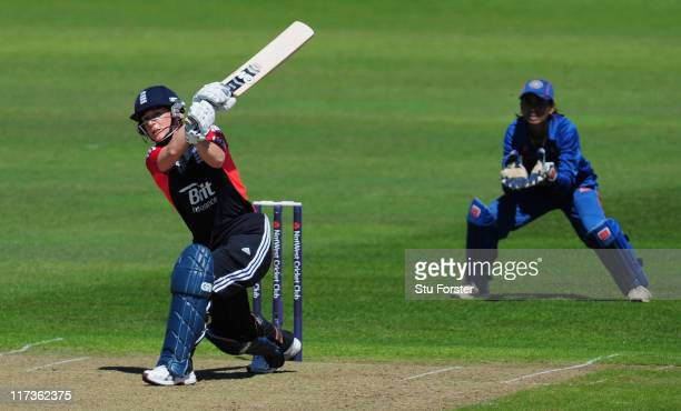 England batsman Claire Taylor hits out during her half century during the NatWest Women's Twenty20 Quadrangular Series match between England and...