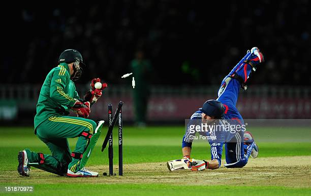 England batsman Craig Kieswetter survives a stumping chance by South Africa wicketkeeper AB de Villiers during the 3rd NatWest International T20...