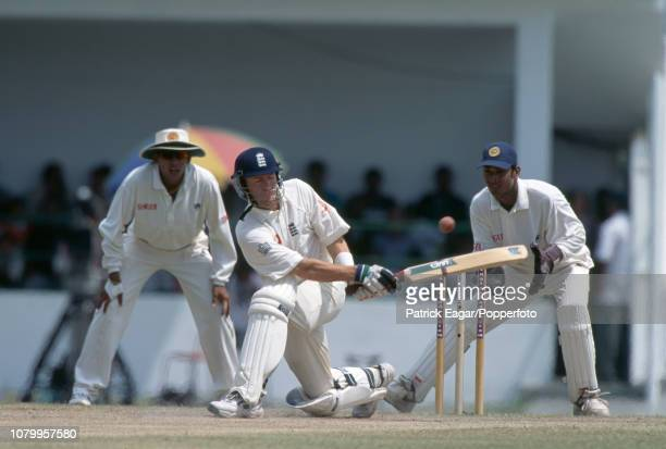 England batsman Craig White sweeps a delivery during the 1st Test match between Sri Lanka and England at Galle International Stadium Galle 25th...