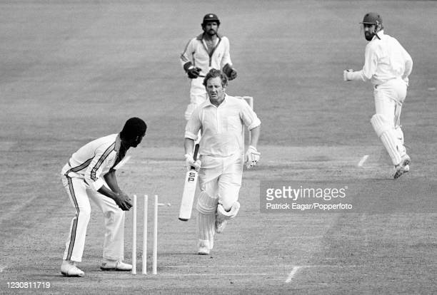England batsman David Bairstow is run out for 4 runs by Michael Holding of West Indies off the last ball of the 1st Benson and Hedges World Series...
