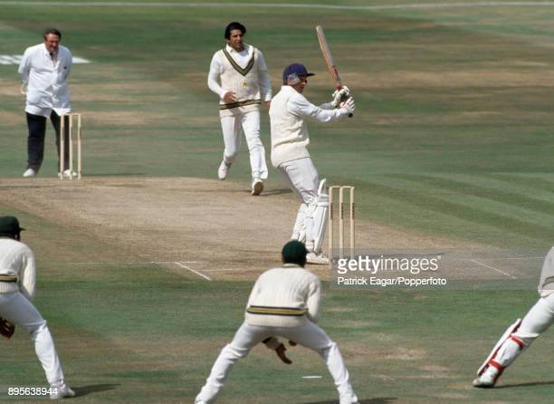 England batsman David Gower hooks a delivery from Pakistan bowler Wasim Akram during the 4th Test match between England and Pakistan at Headingley...