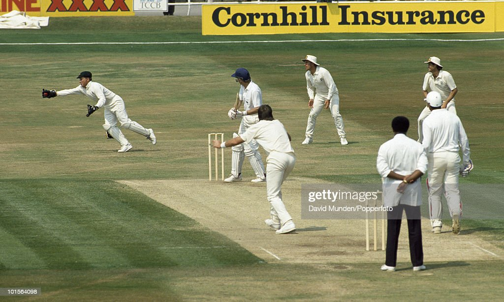 England batsman David Gower is caught down the leg side by Australian wicketkeeper Ian Healy off the bowling of Geoff Lawson for 34 on the fifth day of the 1st Test match between England and Australia at Headingley in Leeds, 13th June 1989. Australia won by 210 runs.
